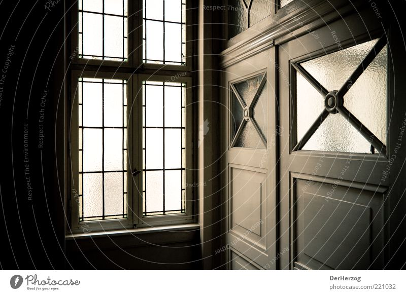 Welcome Style Design Flat (apartment) Interior design Door Colour photo Interior shot Shadow Contrast Entrance Hallway Old building Pane Grating Window Light