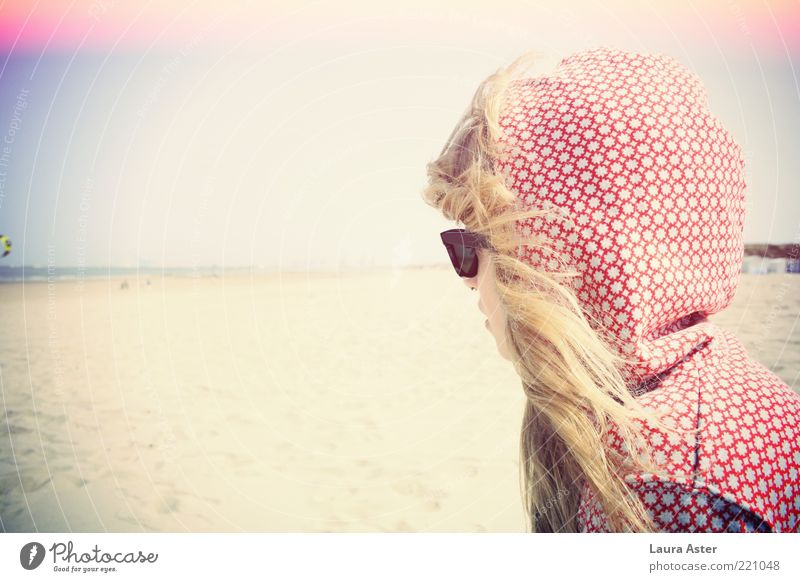 see the sea Human being Feminine Young woman Youth (Young adults) 1 18 - 30 years Adults Ocean Moody Longing Wanderlust Beach Sunglasses Blonde Sandy beach
