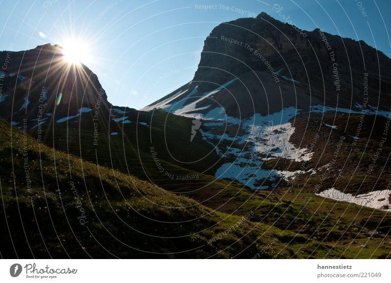 Nature Vacation & Travel Sun Summer Flower Meadow Landscape Snow Mountain Rock Leisure and hobbies Tourism Alps Peak Bavaria Alpine pasture
