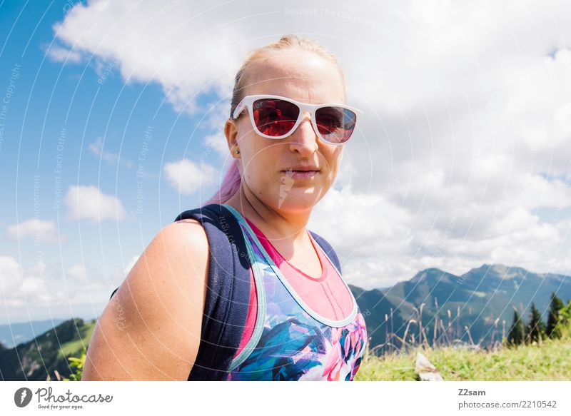 Young hiker in the mountains Lifestyle Hiking Feminine Young woman Youth (Young adults) 18 - 30 years Adults Nature Landscape Sky Summer Beautiful weather Alps