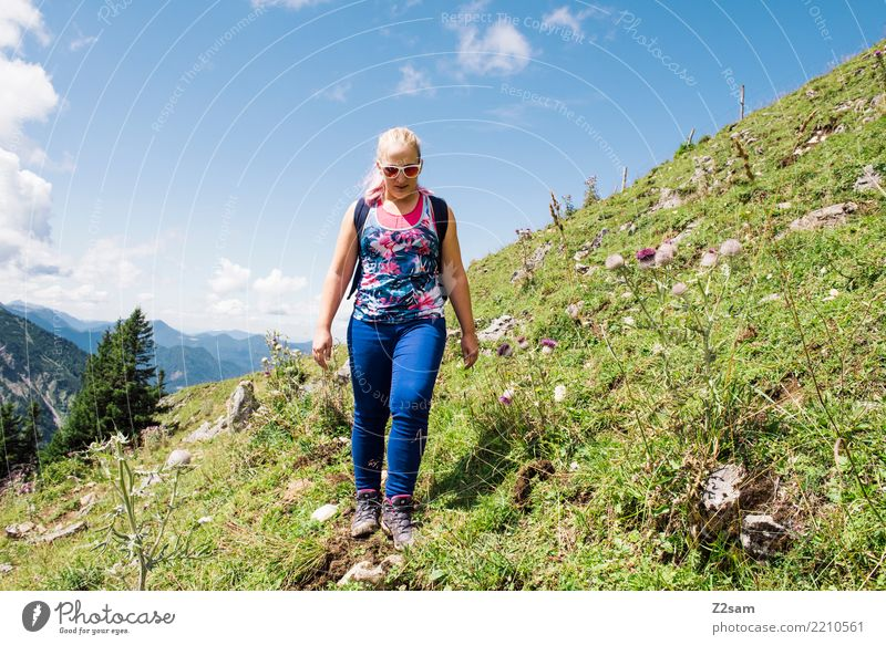 Hiking trail on the Rotwand in Bavaria Young woman Youth (Young adults) 18 - 30 years Adults Sky Summer Meadow Alps Mountain Jeans Sunglasses Hiking boots