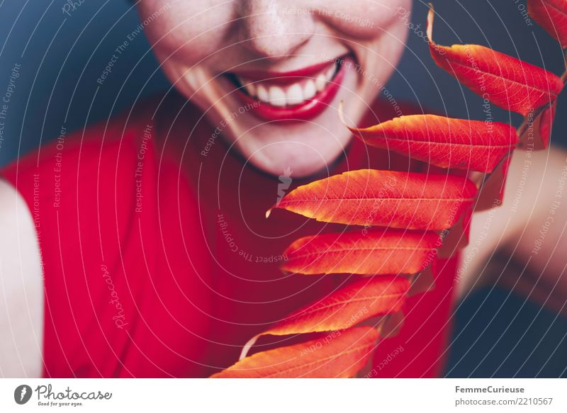 Woman Human being Youth (Young adults) Young woman Colour Beautiful White Red Leaf 18 - 30 years Adults Autumn Feminine Laughter Smiling Teeth
