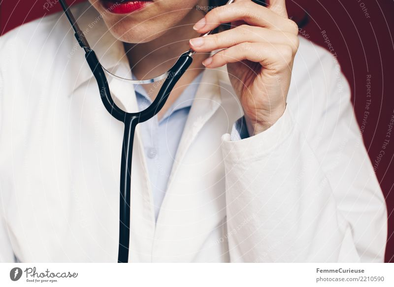 Woman Human being Red Adults Feminine Work and employment Profession Listening Medication Doctor Hospital Lipstick Competent Workwear 30 - 45 years Smock