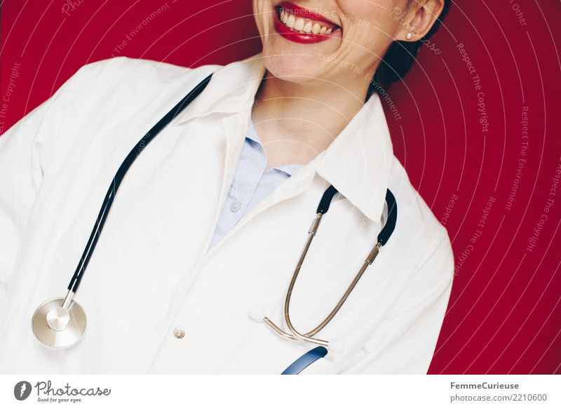 Doctor 25 Work and employment Profession Feminine Woman Adults 1 Human being 30 - 45 years Competent Smock Stethoscope Workwear Protective clothing Red