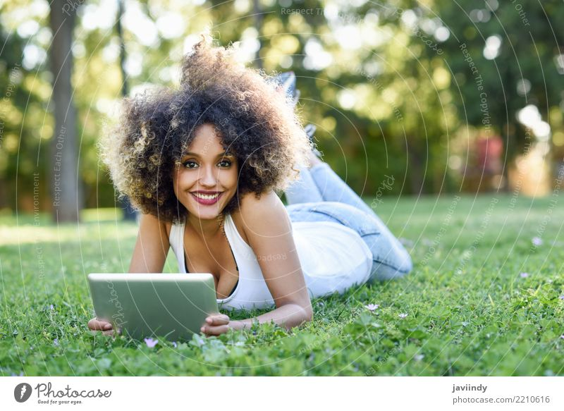 Black woman with afro hairstyle with her tablet computer Lifestyle Style Happy Beautiful Hair and hairstyles Face Summer Computer Human being Feminine