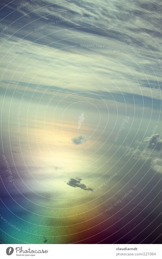 In heaven Far-off places Freedom Ocean Elements Air Water Sky Horizon View from the airplane Flying Exceptional Gigantic Infinity Beautiful Multicoloured Belief