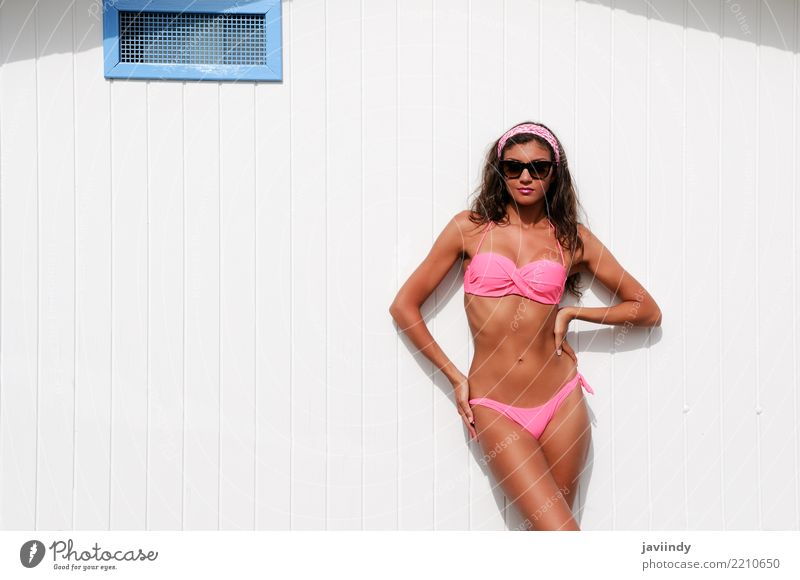Young woman with beautiful body in a beach hut Lifestyle Joy Happy Beautiful Body Hair and hairstyles Skin Face Relaxation Leisure and hobbies Vacation & Travel