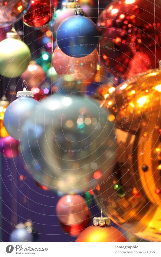 Christmas & Advent Glittering Glass Happiness Round Decoration Sphere Illuminate Many Glitter Ball Multicoloured Checkmark Christmas decoration Christmas Fair Suspended Lomography