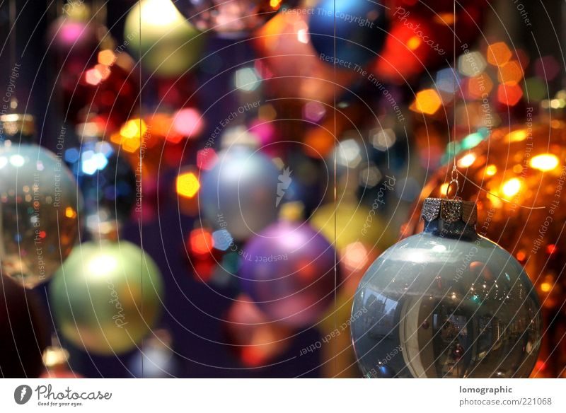 Christmas & Advent Style Lighting Glittering Illuminate Many Round Kitsch Sphere Glitter Ball Checkmark Hang up Brilliant Christmas decoration Multicoloured Lomography