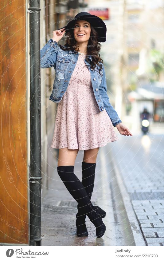 Young brunette woman, model of fashion, in urban background Lifestyle Style Happy Beautiful Hair and hairstyles Face Human being Woman Adults Teeth Autumn