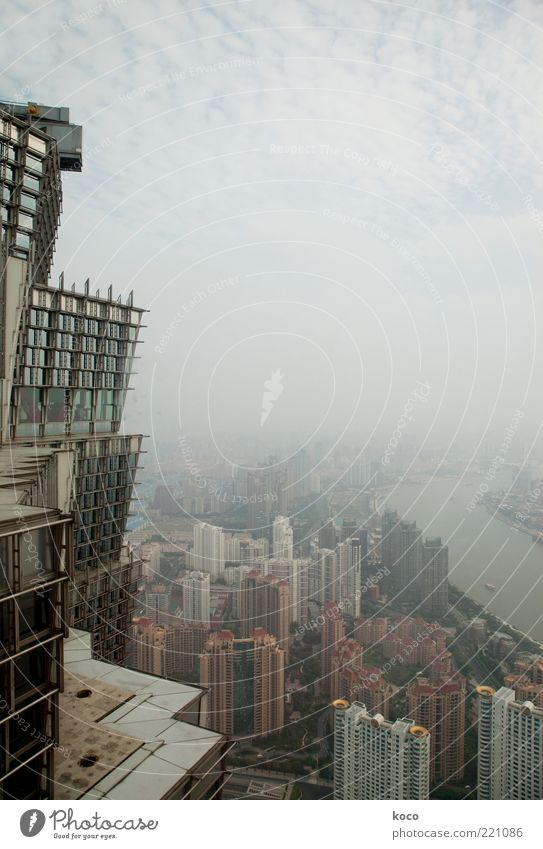 City Summer Clouds Moody Metal Glass Fog High-rise Future River Vantage point Travel photography Asia China Skyline Shanghai