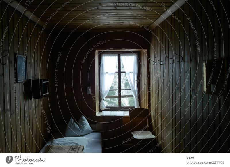 A guest at grandma's Chalk alps Karwendelgebirge Hut Hotel room Window Room Bed Chair Curtain Bedclothes Wood panelling Pillow Looking Living or residing Dark