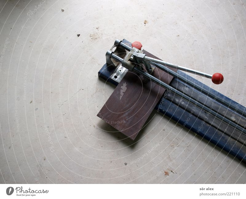 Cutting tiles Work and employment Craftsperson tile layers Craft (trade) Concrete floor tile cutter Tile Metal Build Make Dirty Blue Gray Determination Diligent