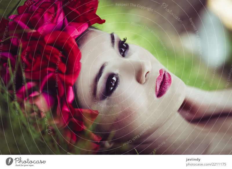 Japanese woman with pink and red flowers Woman Human being Nature Youth (Young adults) Young woman Beautiful Flower Red 18 - 30 years Face Adults Feminine Grass