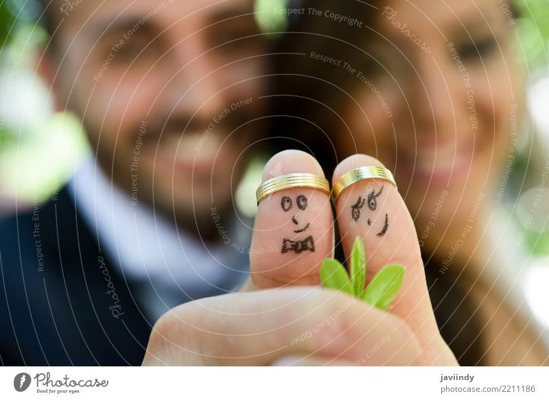 wedding rings on their fingers painted with the bride and groom, Beautiful Feasts & Celebrations Wedding Human being Woman Adults Man Couple Fingers