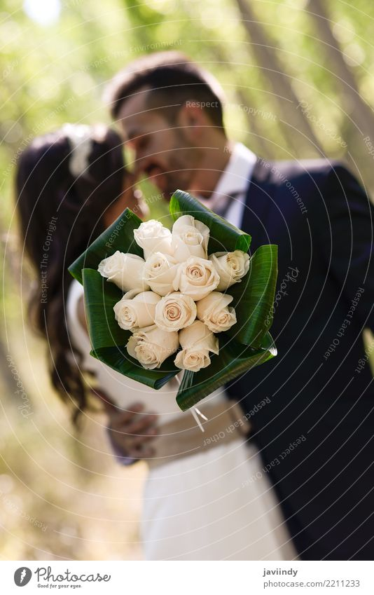 Just married couple together in poplar background Happy Beautiful Feasts & Celebrations Wedding Human being Woman Adults Man Couple 2 18 - 30 years