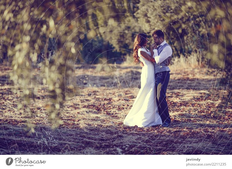 Just married couple together in nature background Happy Beautiful Feasts & Celebrations Wedding Human being Young woman Youth (Young adults) Young man Couple 2