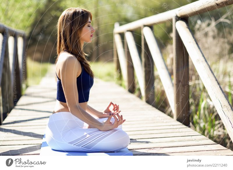 Young woman doing yoga on wooden bridge in nature. Woman Human being Nature Youth (Young adults) Summer Beautiful White Relaxation 18 - 30 years Adults
