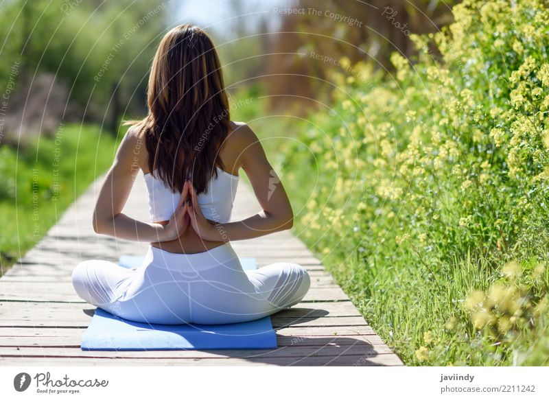 Young woman doing yoga on wooden road in nature. Lifestyle Beautiful Body Relaxation Meditation Sports Yoga Human being Feminine Woman Adults Arm Hand 1
