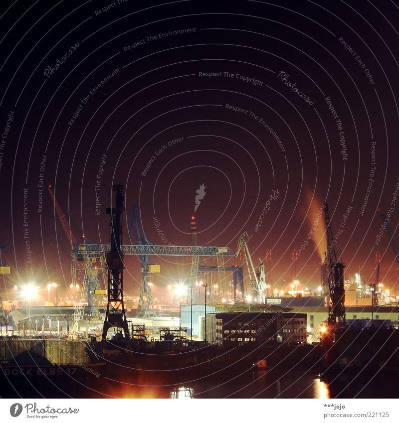 City Lighting Hamburg Logistics Factory Harbour Skyline Navigation Crane Industrial plant Elbe Goods Load Dock River Industry
