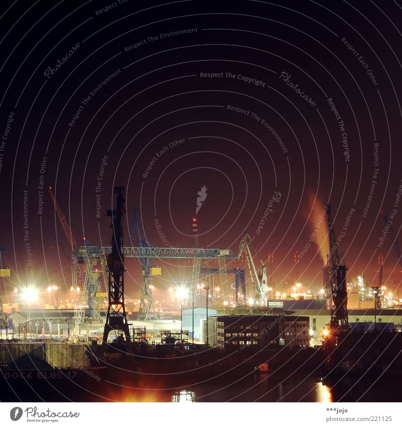 City Lighting Hamburg Logistics Factory Harbour Skyline Navigation Crane Industrial plant Elbe Goods Load Dock River Industry