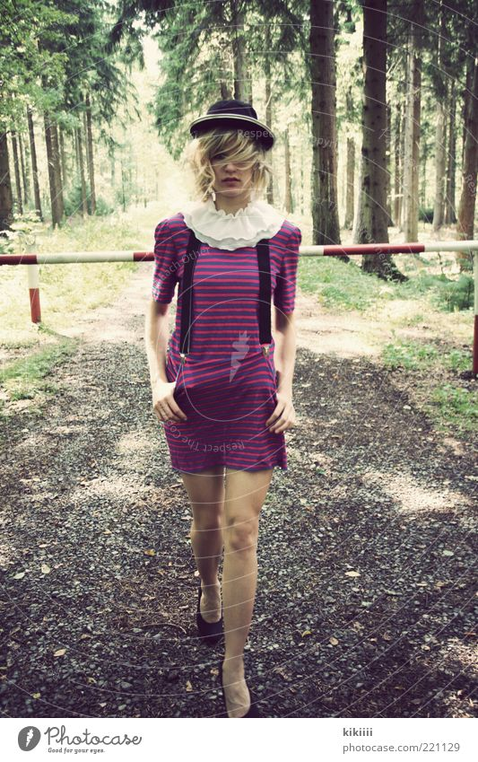 clown Feminine Young woman Youth (Young adults) 1 Human being 18 - 30 years Adults Nature Tree Forest Lanes & trails Dress High heels Hat Blonde Curl Stripe