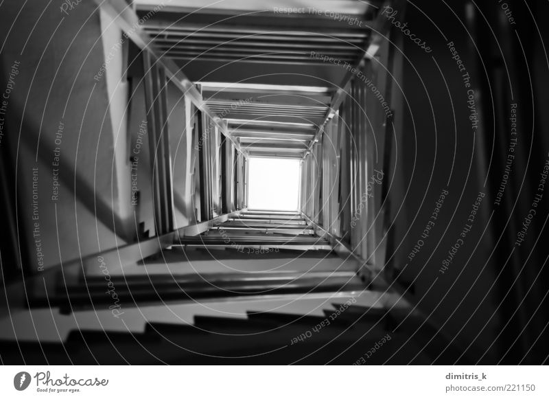 stairs spiral Night sky Places Building Architecture Stairs Concrete Dark Tall Long Black White Perspective staircase Spiral Steps construction Descent design