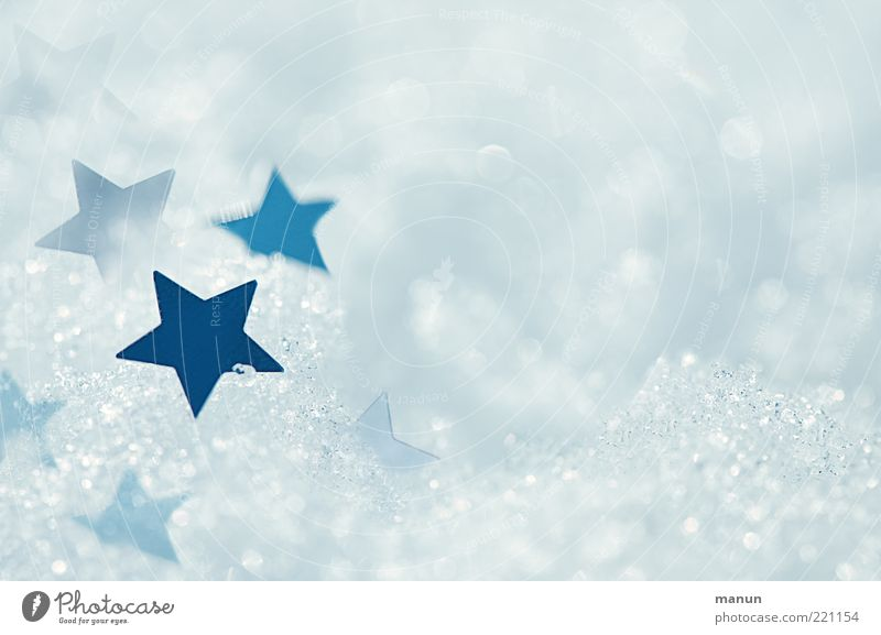 Nature Blue White Winter Cold Snow Bright Glittering Ice Fresh Stars Star (Symbol) Sign Frost Kitsch Peace