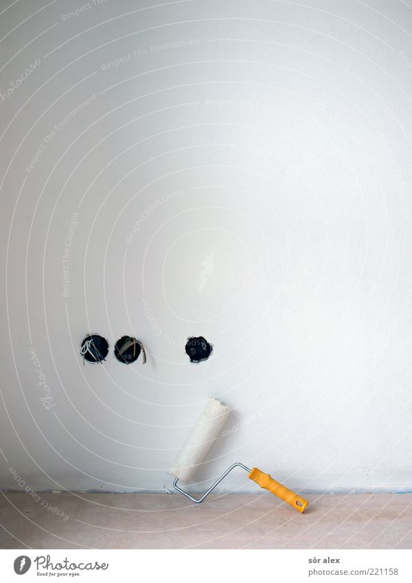 design freedom Work and employment Construction site Craft (trade) Wall (barrier) Wall (building) Concrete floor Rendered facade Plaster paint roller Socket