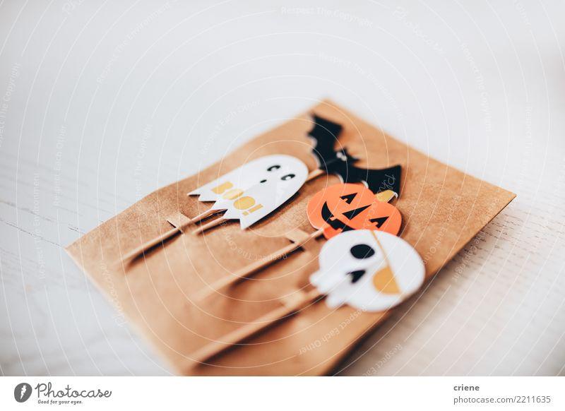 Close up of Halloween Food Decoration Hallowe'en Autumn Accessory Creepy White Creativity Minimalistic Pumpkin Spooky Self-made kids holiday Ghosts & Spectres