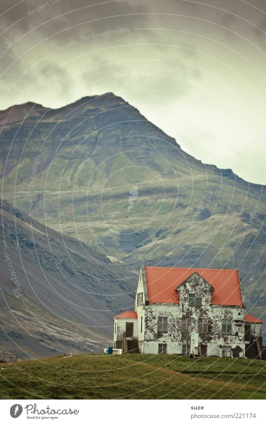 home Living or residing House (Residential Structure) Nature Sky Clouds Weather Meadow Hill Mountain Peak Old Dark Loneliness Past Transience Iceland Mystic