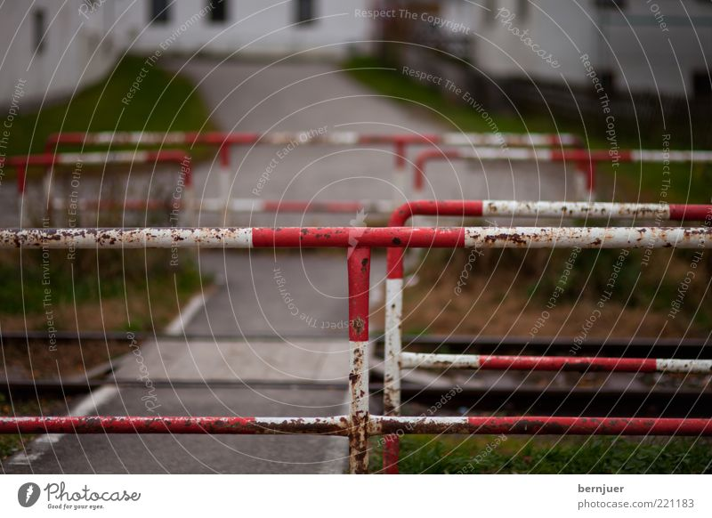 White Red Street Railroad tracks Conduct Handrail Barrier Road junction Intersection Limitation Rail transport Warning colour Railroad crossing Road safety