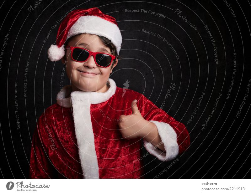 funny boy with sunglasses on christmas Lifestyle Vacation & Travel Adventure Party Event Feasts & Celebrations Christmas & Advent New Year's Eve Human being