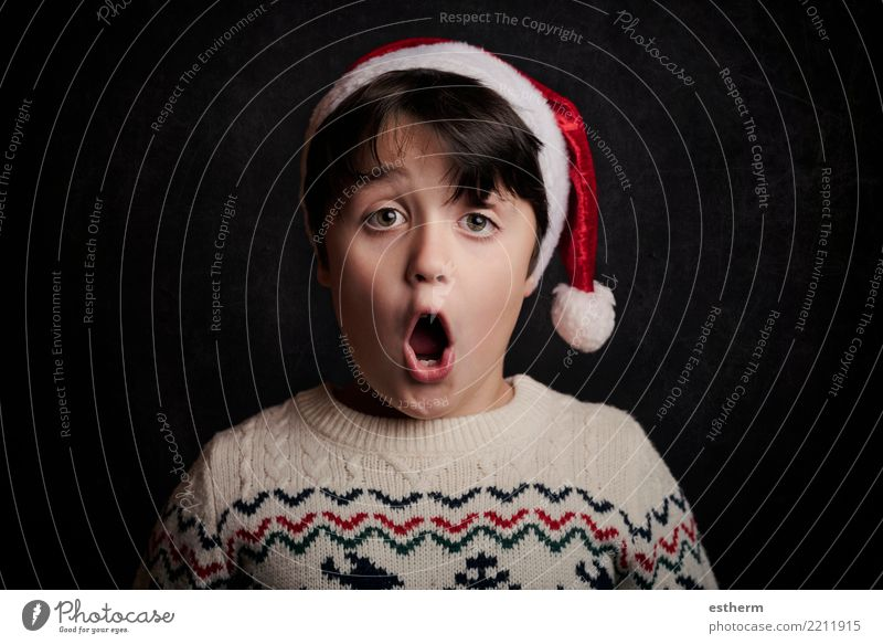 surprised child on christmas Child Human being Vacation & Travel Christmas & Advent Joy Winter Lifestyle Funny Emotions Movement Feasts & Celebrations Party
