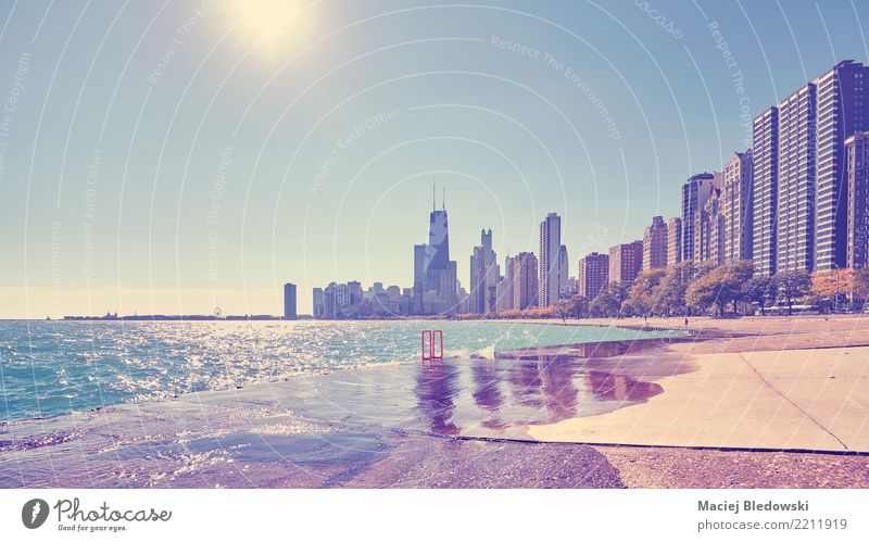 Chicago waterfront against the sun. Vacation & Travel Sun House (Residential Structure) Building Freedom Flat (apartment) Office Waves High-rise Elegant Success
