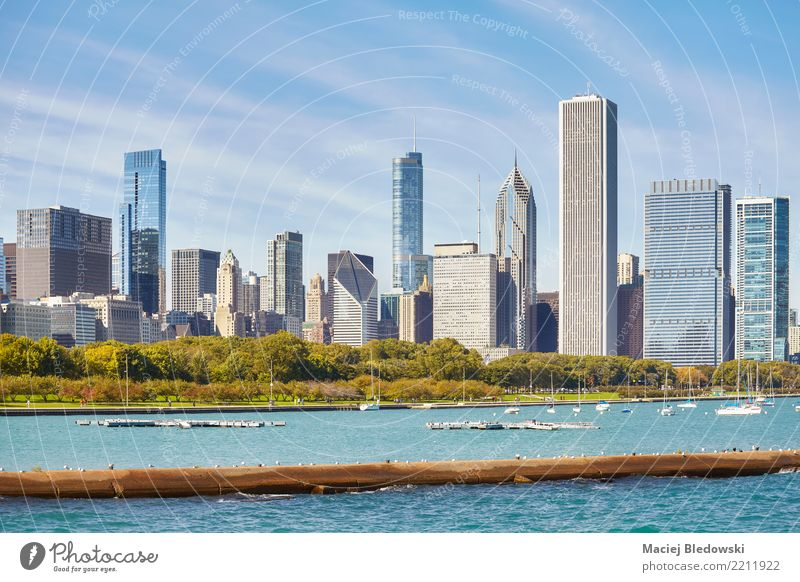 Chicago city skyline. Sky Style Building Flat (apartment) Office Park High-rise Elegant Success USA Shopping Photography Money Skyline City trip Downtown