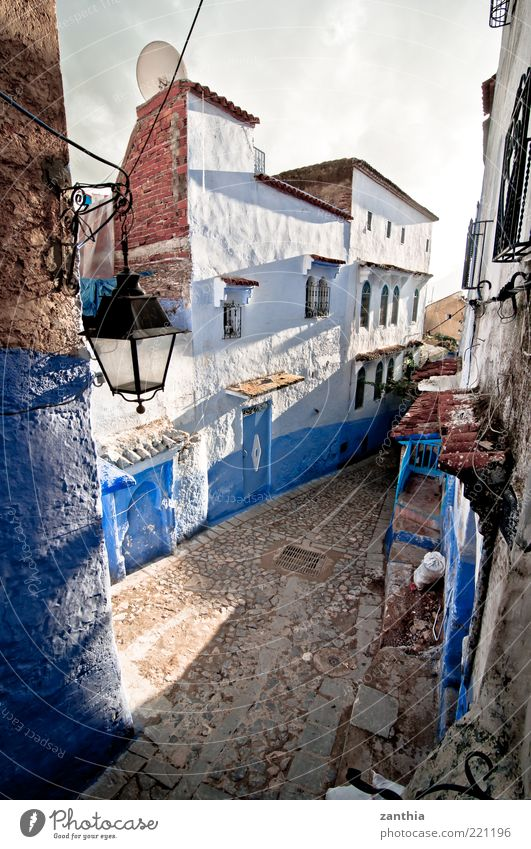 Chefchaouen Chechaouen Morocco Africa Village Town Downtown Old town Deserted House (Residential Structure) Building Wall (barrier) Wall (building) Blue White