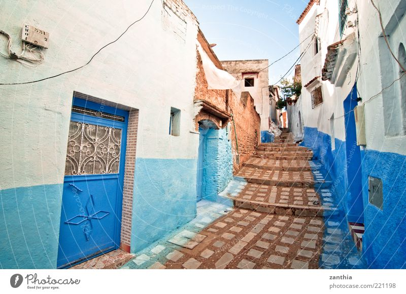 Medina Chechaouen Morocco Africa Village Small Town Old town Deserted House (Residential Structure) Building Wall (barrier) Wall (building) Stairs Facade Blue