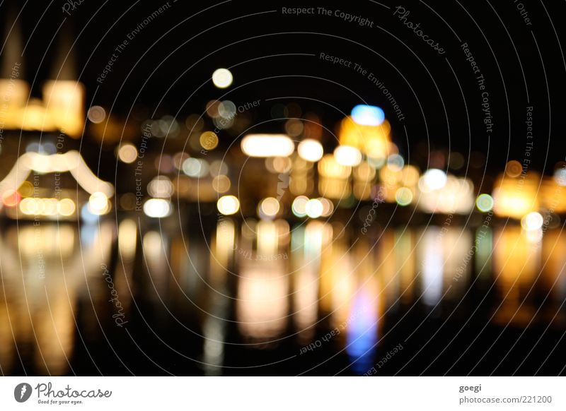 Lucerne by night Lake Lake Lucerne Switzerland Europe Town Downtown Old town Skyline Tourist Attraction Multicoloured Blur Colour photo Deserted Night