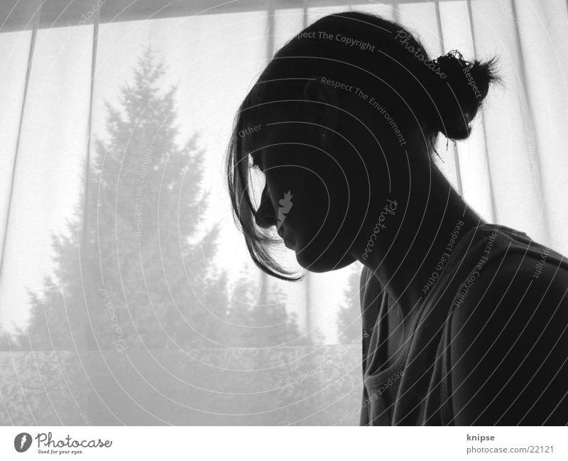 siluette Window Woman Feminine Black White Fir tree Dreamily Think garden
