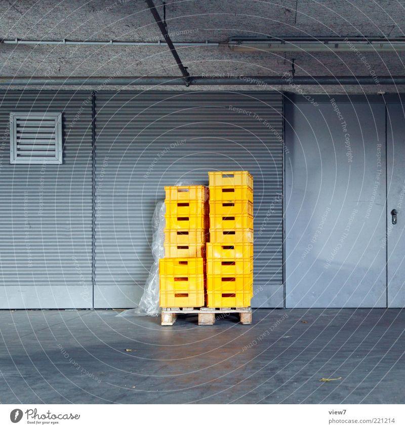 acceptance of goods Trade Logistics Industrial plant Facade Door Metal Plastic Esthetic Dark Simple New Yellow Loneliness Arrangement Services Crate Cargo