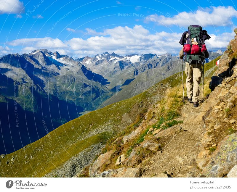 Hikers with rucksack in the mountains Tourism Adventure Freedom Camping Mountain Hiking Nature Going Walking Uniqueness Joie de vivre (Vitality) Life Mobility