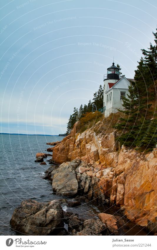lighthouse Environment Nature Landscape Plant Elements Earth Water Sky Clouds Autumn Wind Rock Waves Bay Reef Island Esthetic Maine Bar Harbor Lighthouse