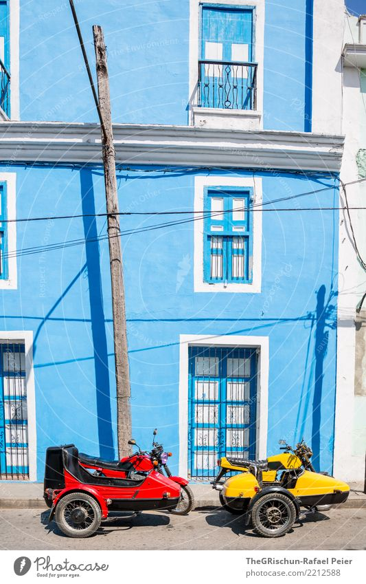 RGB (red, yellow:-), blue) Village House (Residential Structure) Wall (barrier) Wall (building) Facade Window Door Blue Yellow Red Driving Happiness Vintage car