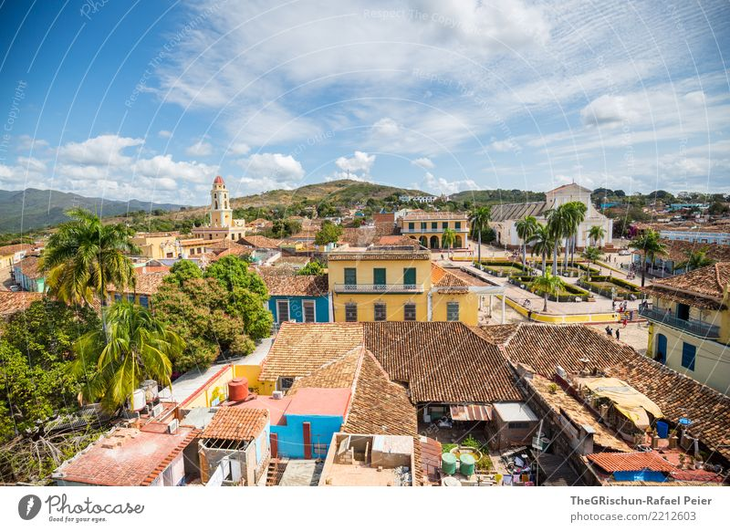 Trinidad Village Town Populated Places Old Esthetic Cuba Tourism Roof House (Residential Structure) Multicoloured Blue Yellow Church Palm tree Brick Trinidade
