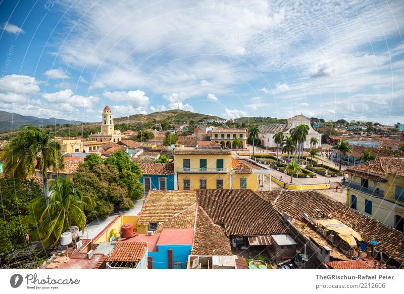 Trinidad Cuba Village Small Town Downtown Church Old Esthetic Exceptional Blue Multicoloured Yellow Gray Green Orange Pink Black Trinidade