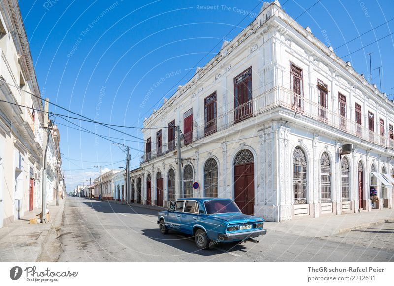 Cienfuegos (KUBA) Village Small Town Blue Gray White Cuba House (Residential Structure) Manmade structures Old Facade Door Balcony Car Driving Vintage car