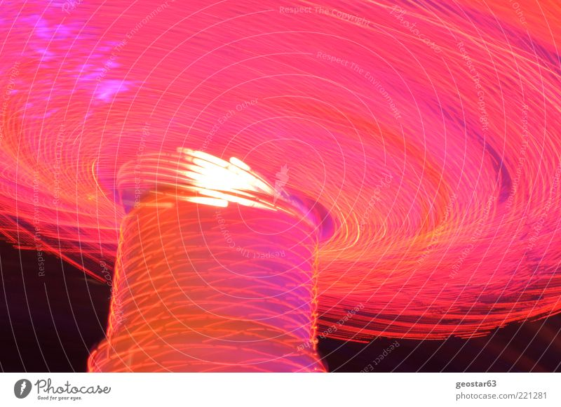 Chain carousel by night Fairs & Carnivals Pink Chairoplane Night shot Colour photo Exterior shot Deserted Long exposure Motion blur Worm's-eye view Gyroscope