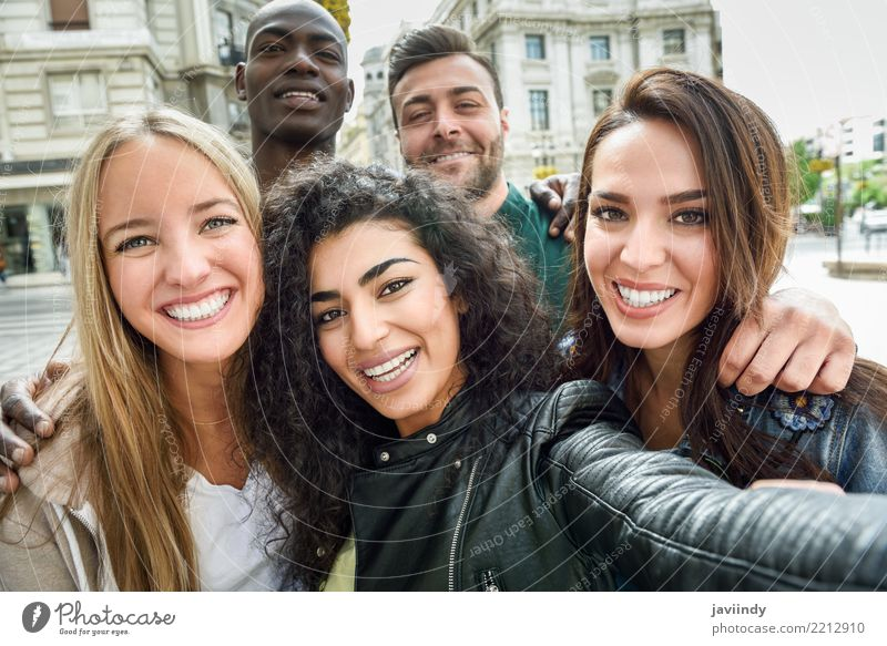 Multiracial group of friends taking selfie in a urban street Woman Human being Vacation & Travel Youth (Young adults) Man Beautiful Joy 18 - 30 years Adults