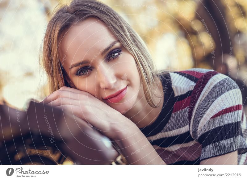 Beautiful girl with blue eyes in urban background Lifestyle Style Hair and hairstyles Human being Woman Adults Face 1 18 - 30 years Youth (Young adults) Autumn